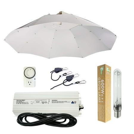 Hydro Crunch 600-Watt HPS Grow Light System with 42 in. Parabolic Vertical Umbrella Hood Reflector ()