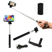 Selfie Stick Pro Mono pad with Built-in Bluetooth remote on Handle for GoPro IOS Apple Android - Black