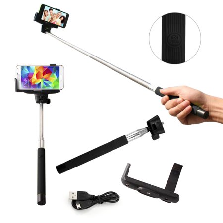 selfie stick pro mono pad with built in bluetooth remote on handle for gopro ios apple android. Black Bedroom Furniture Sets. Home Design Ideas