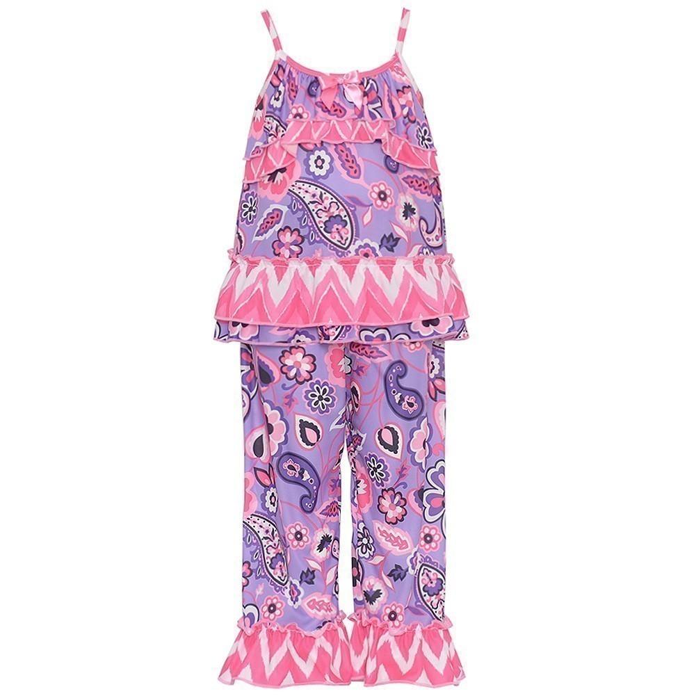New Icm Laura Dare Little Girls Pink Lilac Paisley Chevron Strap 2 Pc Pajama Set 2T