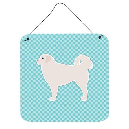 Polish Tatra Sheepdog Checkerboard Blue Wall or Door Hanging Prints BB3727DS66