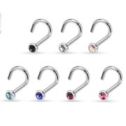 Nose Ring 20g 7 Pcs  Assorted 316L Surgical Steel Press Fit Gem Nose Screw