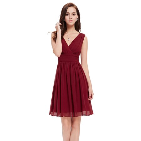 Ever Pretty Double V-Neck Ruched Waist Short Cocktail Party Dress Knee Length Bridesmaid Dress