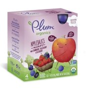 Plum Organics Kids Organic Fruit Mashups, Mixed Berry, 3.17 Oz, 4 Ct