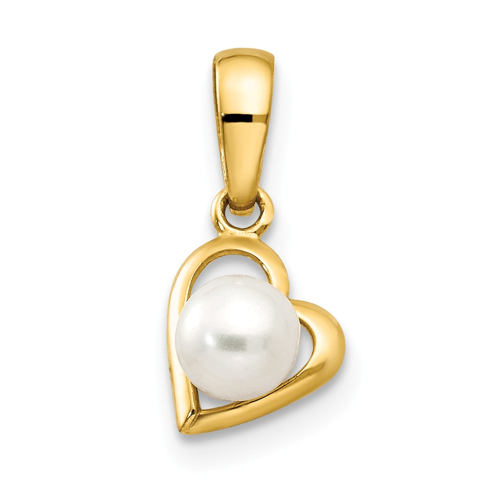 14k Yellow Gold Freshwater Cultured Pearl Children's Heart Pendant