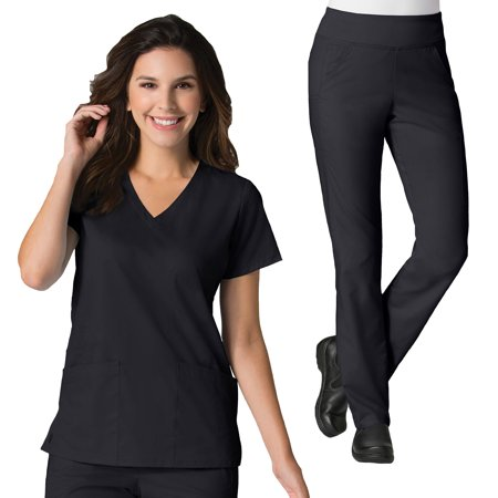 Maevn EON Women's Back Mesh Panel Shaped V-Neck Scrub Top & Yoga Waistband Scrub Pant Set [XXS - 3XL, FREE