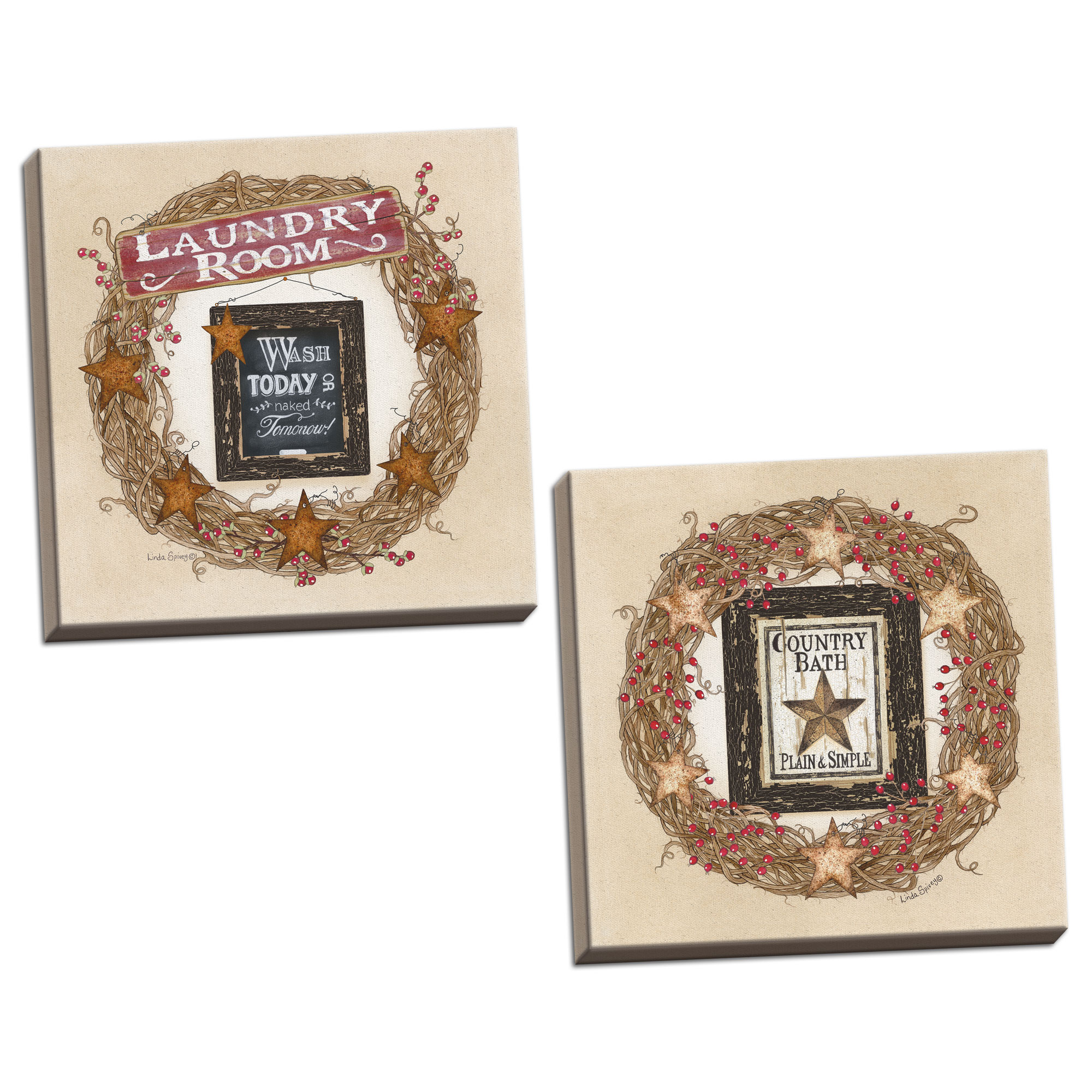 Gango Home Decor Country-Rustic Country Bath Wreath & Laundry Room Wreath by Linda Spivey (Ready to Hang); Two 12x12in Hand-Stretched Canvases