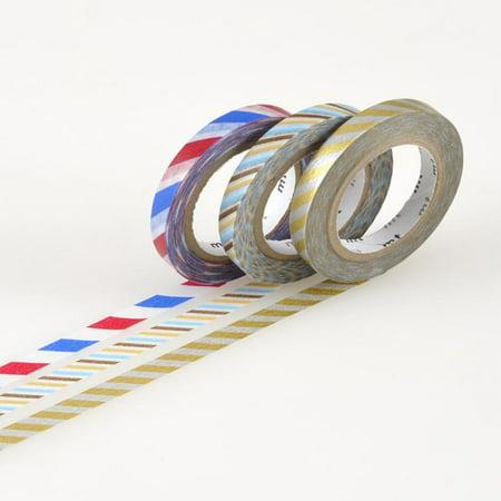 mt Slim Washi Paper Masking Tape [genuine MT Kamoi Kakoshi / produced in Japan]: 0.24 in. x 33 ft. / Twist Cord C (multi-color) [3 Rolls/Pack]