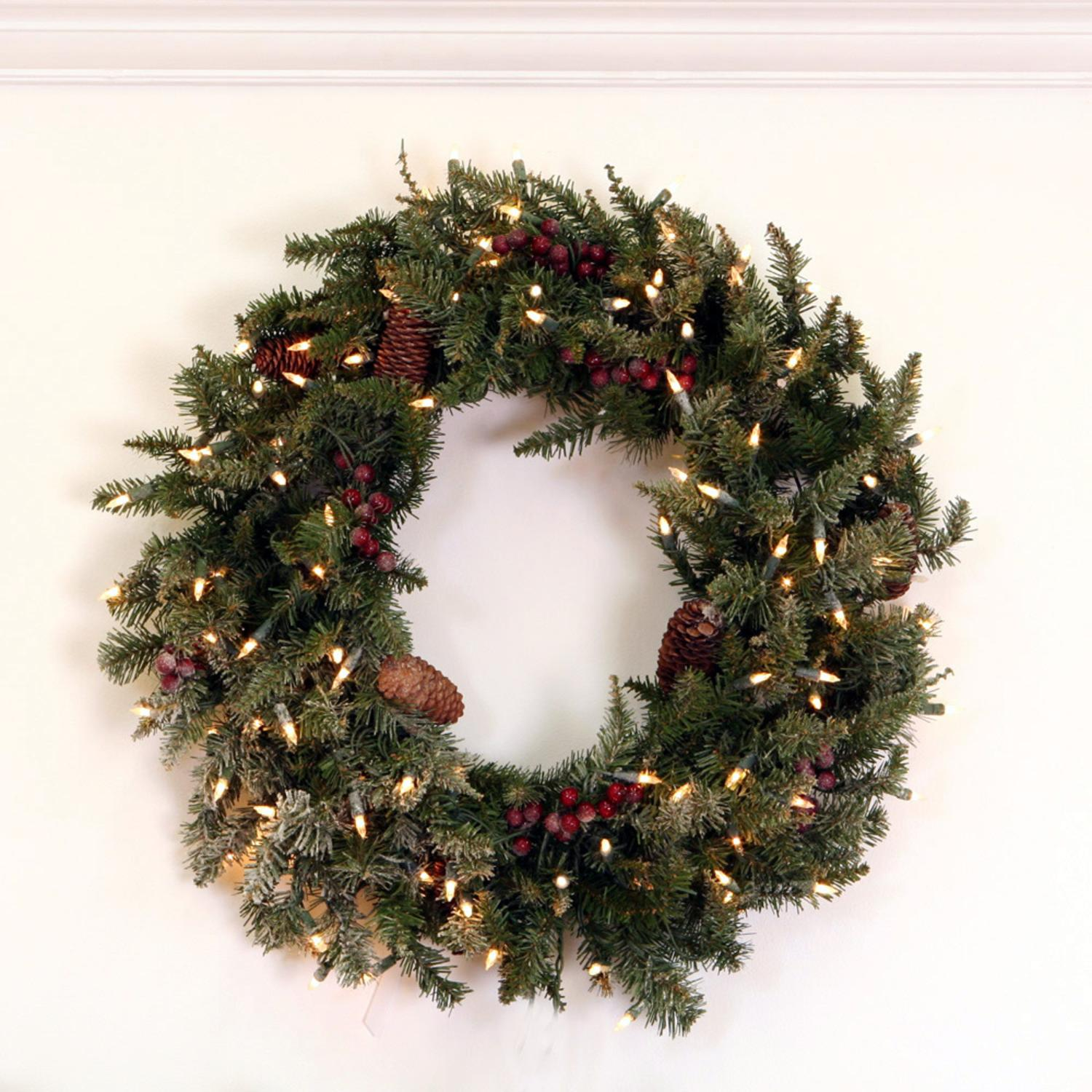 "30"" Pre-Lit Frosted Edina Fir Artificial Christmas Wreath - Clear Lights"