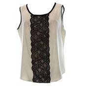 Anne Klein NEW White Ivory Black Lace Trim Women's 10P Petite Blouse