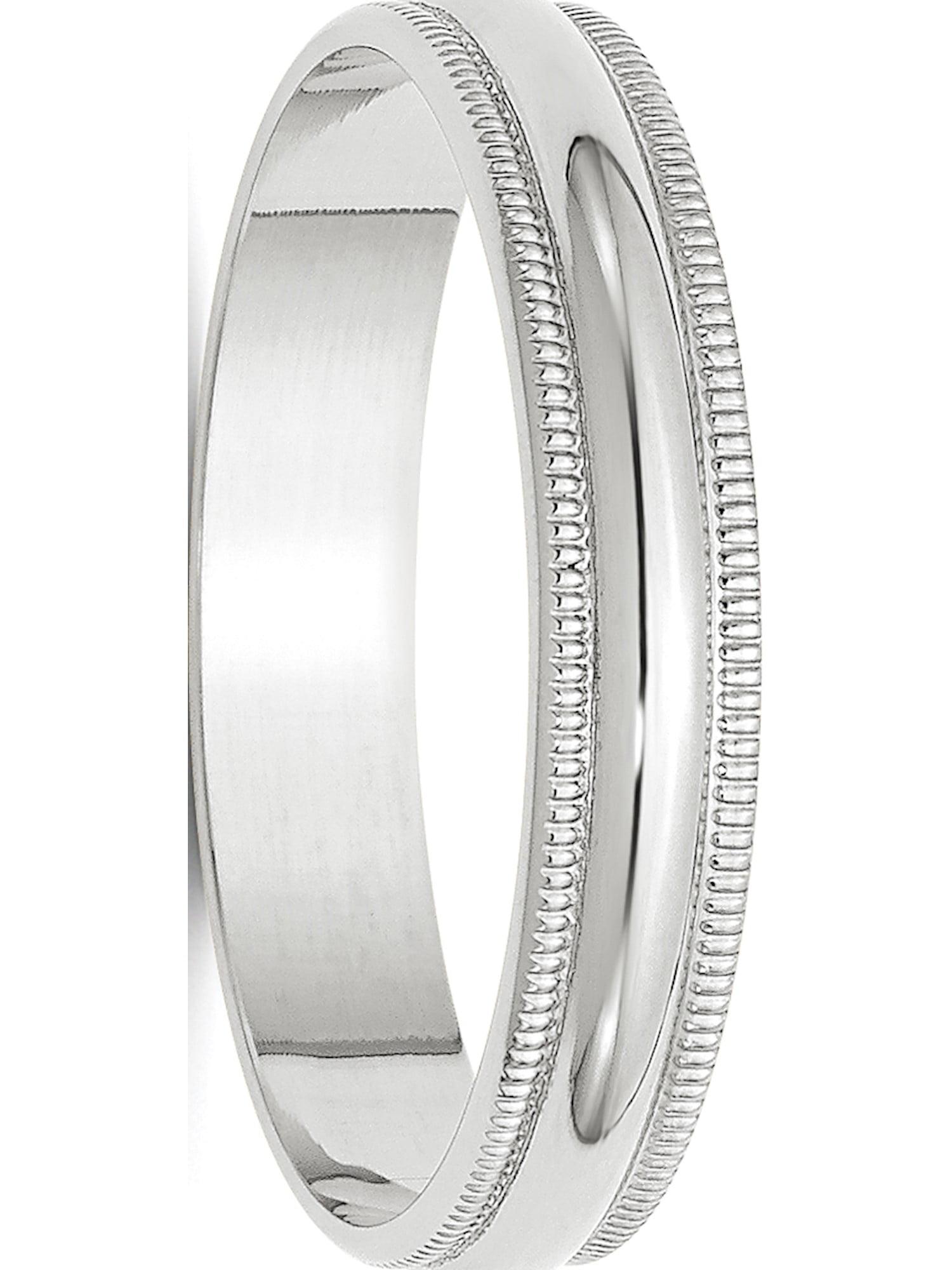 10K Yellow Gold 4mm Lightweight Milgrain Half Round Band Ring