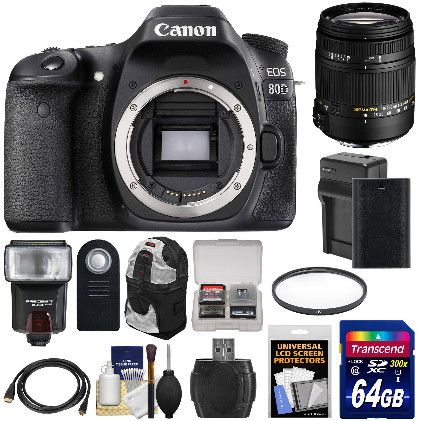 Canon EOS 80D Wi-Fi Digital SLR Camera Body with Sigma 18-250mm OS Lens + 64GB Card + Battery & Charger + Backpack +... by Canon
