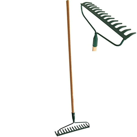 HEAVY-DUTY Garden Bow Rake Wood Handle Landscape Cultivator Gardening tool for loosening and leveling mulch, peat moss and loose or heavy soils 14-Tine Tempered Steel head and extra thick end (Best Rockhound Landscape Rakes)
