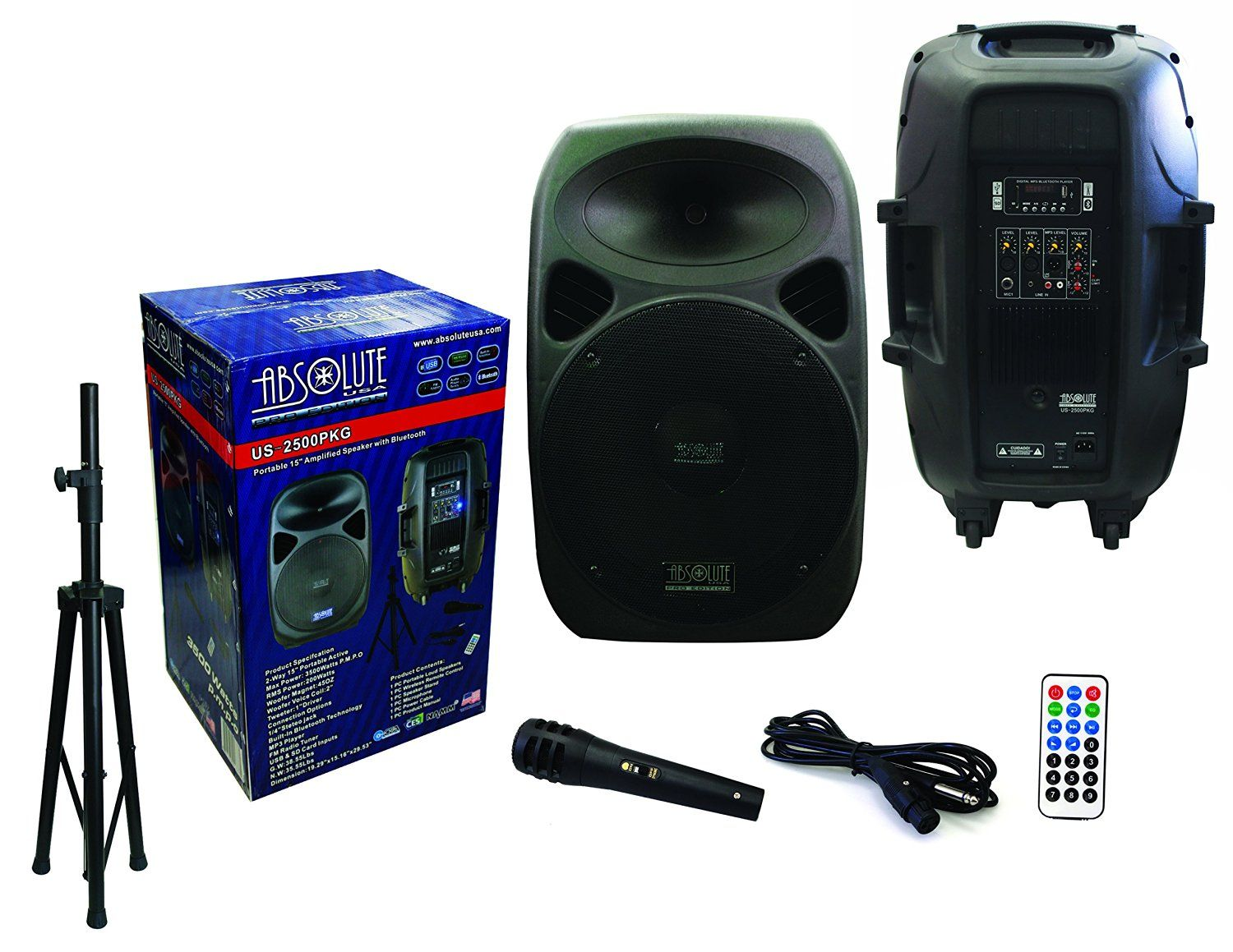 """Absolute USA US2500 2-Way 15"""" 3500W Speaker Built-In Bluetooth with Wire Microphone & Speaker Stand by ABSOLUTE ABSOLUTE"""