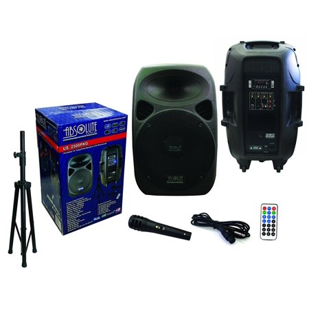 "Absolute USA US2500 2-Way 15"" 3500W Speaker Built-In Bluetooth with Wire Microphone & Speaker Stand by"