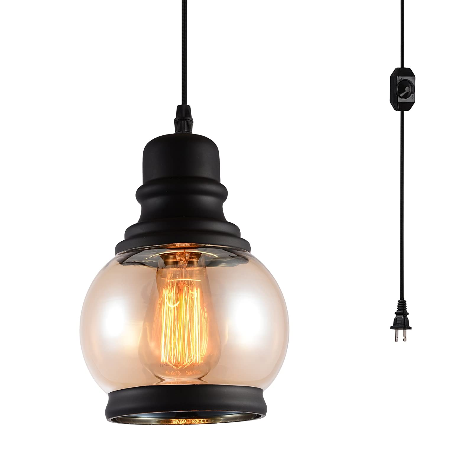Hmvpl Plug In Pendant Lighting Fixtures With Dimmer Switch And Long Hanging Cord Vintage Glass Swag Chandelier Ceiling Lamp For Kitchen Island Dining Table Bedroom Foyer Entry Hallway Walmart Com Walmart Com