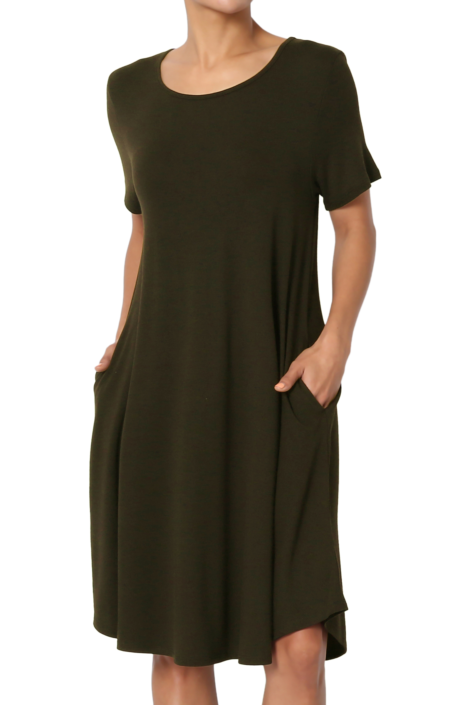 TheMogan Women's PLUS Short Sleeve Draped Jersey Knit Pocket A-Line T-Shirt Dress