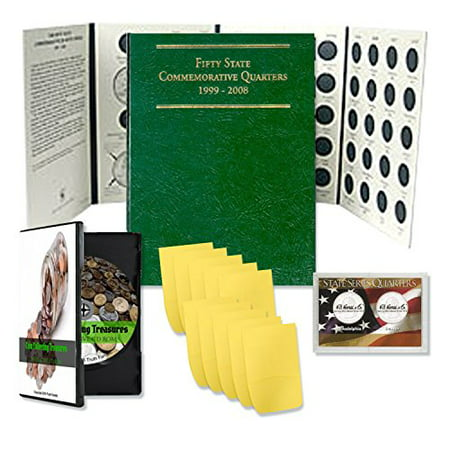 Coin Collecting Starter Kit - Includes Coin Collection Treasures Interactive CD Rom, State Park Quarters Album Folder For Quarter Collection 50 States, Case & Envelopes -Bundle Gift Kit State Quarters Us Coins