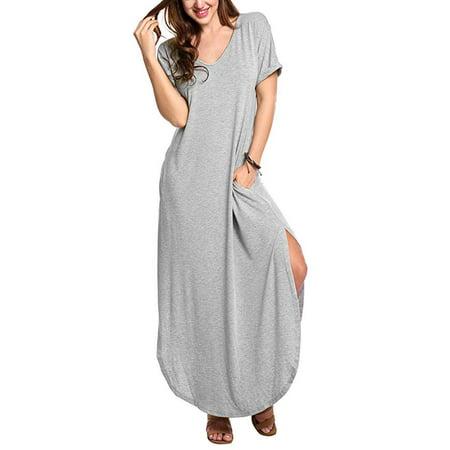 Women's V Neck Puffy Short Sleeve Side Slit Long Split Maxi Dresses With Pockets