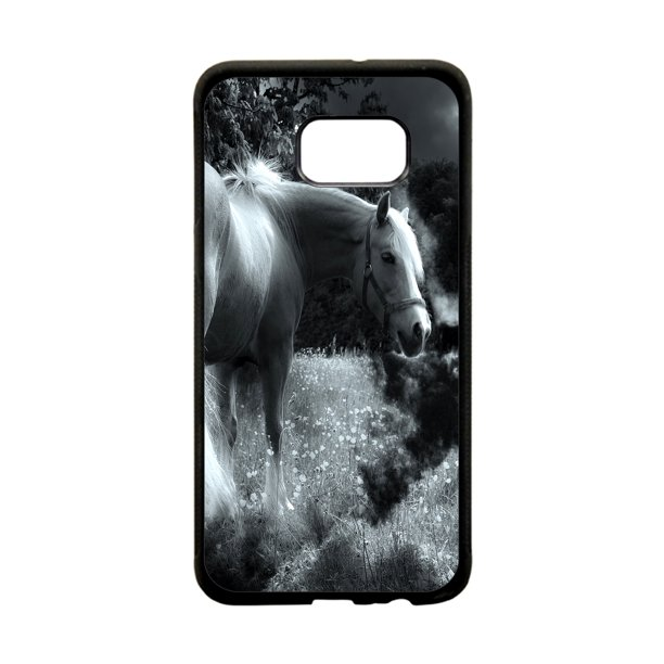 White Horse in a Dandelion Design White Rubber Thin Case Cover for the Samsung Galaxy s7 Edge - Samsung Galaxy s7 Edge Accessories - s7 Edge Case