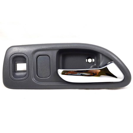 PT Auto Warehouse HO-2579MGFR1 - Inner Interior Inside Door Handle, Gray Housing with Chrome Lever - with Power Window Switch Hole, 4-Door Sedan, Passenger Side Front