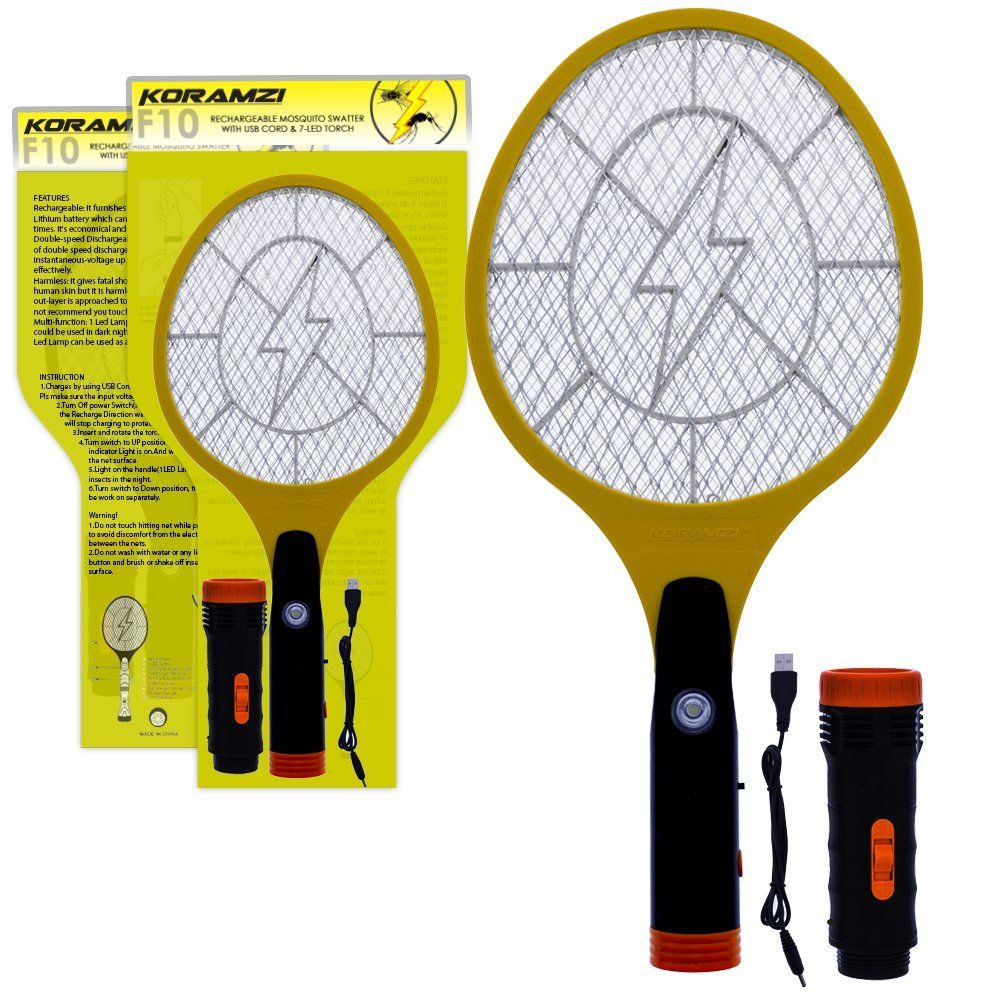 Koramzi Electric Mosquito Swatter   Bug Zapper With Rechargable Battery, Handle light, and Removable... by KORAMZI