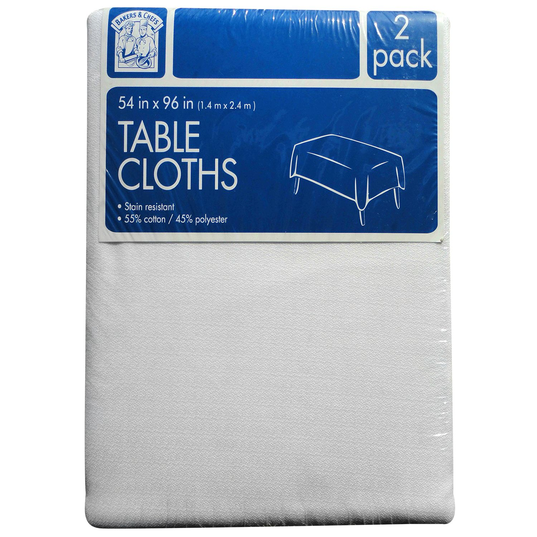 "Daily Chef Rectangular Tablecloth, White (54"" x 96"", 2pk.)"