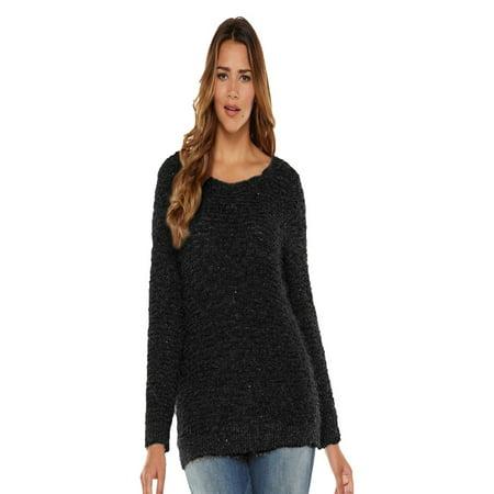 df2bd2de7d4 Jennifer Lopez - Jennifer Lopez Sparkly Days Black Tie Women Knit Sweater  Crew Neck X-Large - Walmart.com