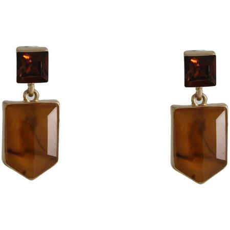 Gold-Tone Geometric Tortoise Stud Earrings