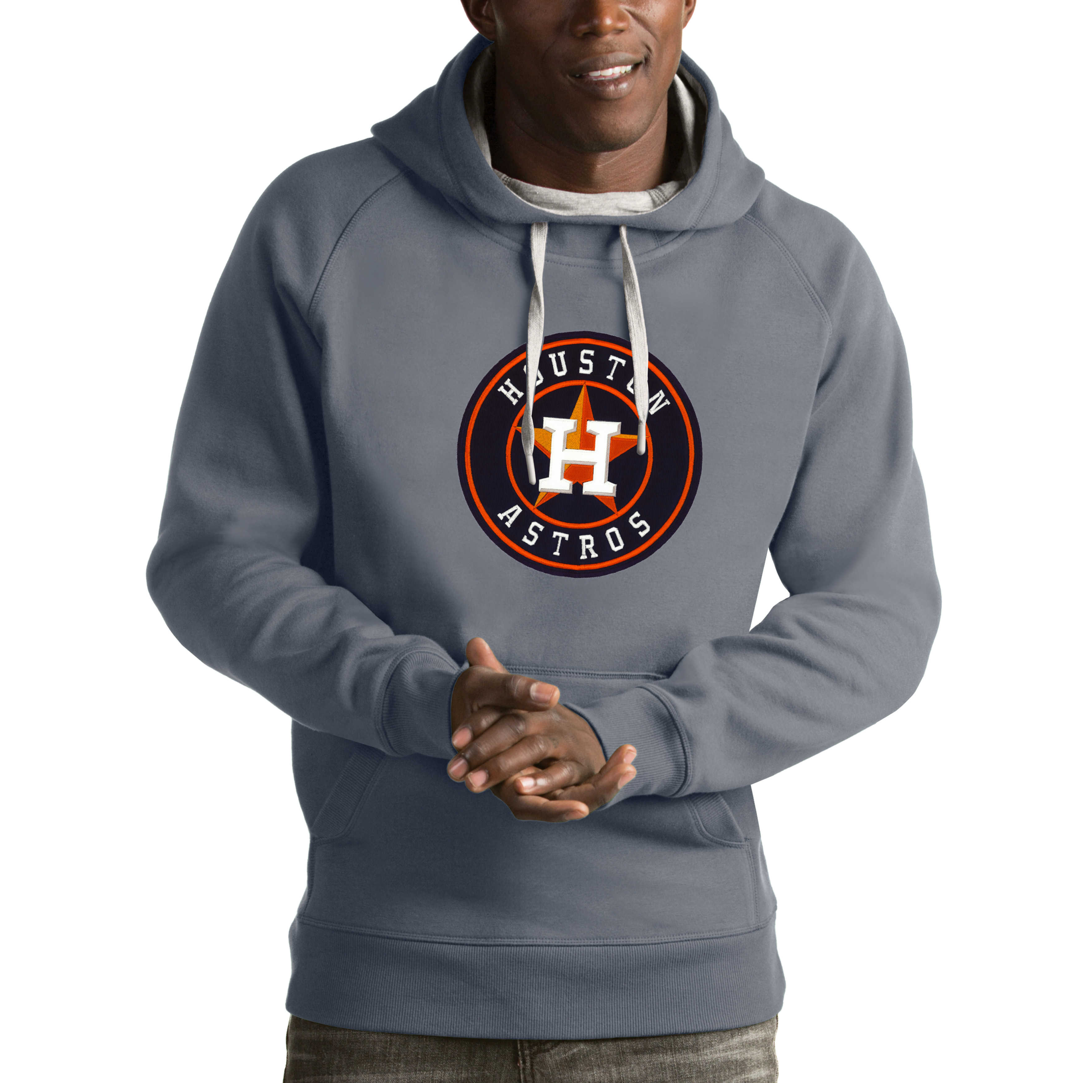 Houston Astros Antigua Victory Pullover Hoodie - Heathered Gray