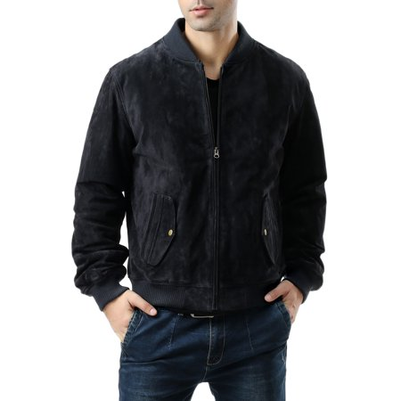 BGSD Men's Classic Suede Leather Bomber Jacket with Zip Out Liner (Big & Tall sizes)