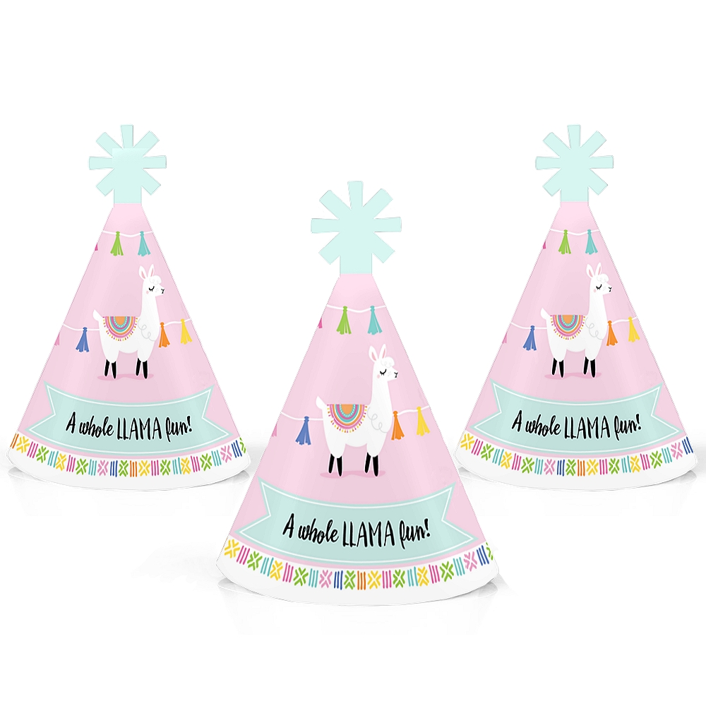 Whole Llama Fun - Mini Cone Llama Fiesta Baby Shower or Birthday Party Hats - Small Little Party Hats - Set of 10