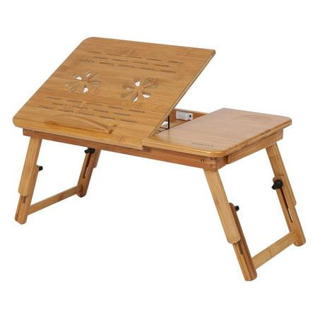 Laptop Table Desk, Ventilation Holes Heat Emission Laptop Holder Stand, Foldable Bamboo Dormitory Bed Desk Rack Shelf, Adjustable Reading Breakfast Tray, Anti-slip Baffle, Lifting Table Leg Desk