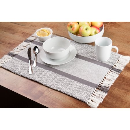 Woven Placemats (Sticky Toffee Cotton Woven Placemat Set with Fringe, Traditional Diamond, 4 Pack, Gray, 14 in x 19)
