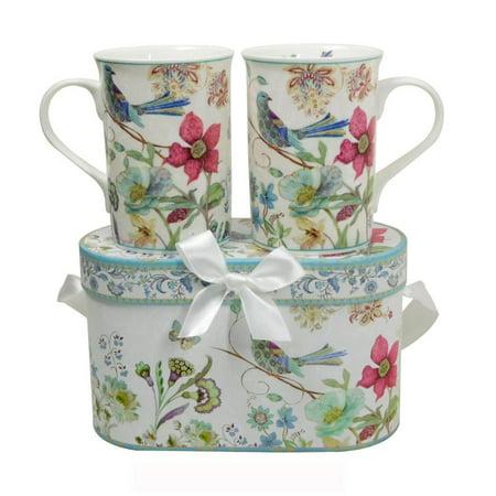 Elegantoss Fine Bone China Two Mugs set in Blue Bird Design 11.2 oz each cup in attractive handmade reusable gift box (Tall Bone China Mug)