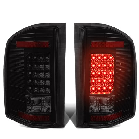 for 07-13 chevy silverado / gmc sierra 1500 / 2500 / 3500 hd led tail brake lights ( black housing smoked lens )