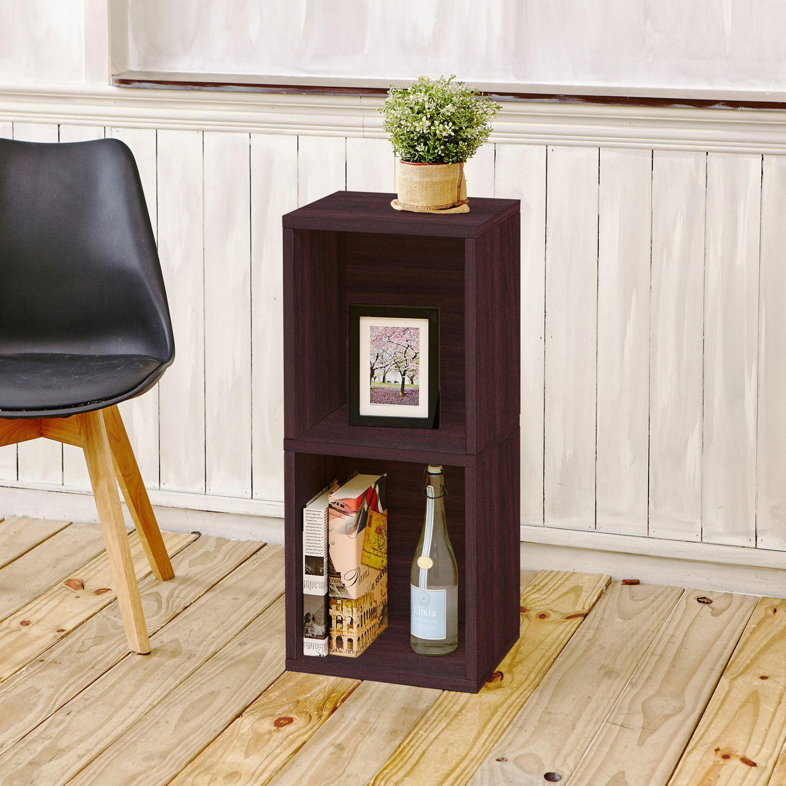 Way Basics Eco 2-Shelf Double Cube Plus Narrow Bookcase and Storage Shelf, Espresso
