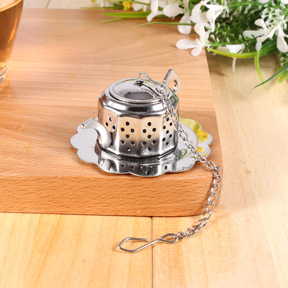 Yosoo Stainless Steel Loose Tea Infuser Leaf Strainer Filter Diffuser Herbal Spice Teapot Shape,tea strainer, loose Tea Infuser