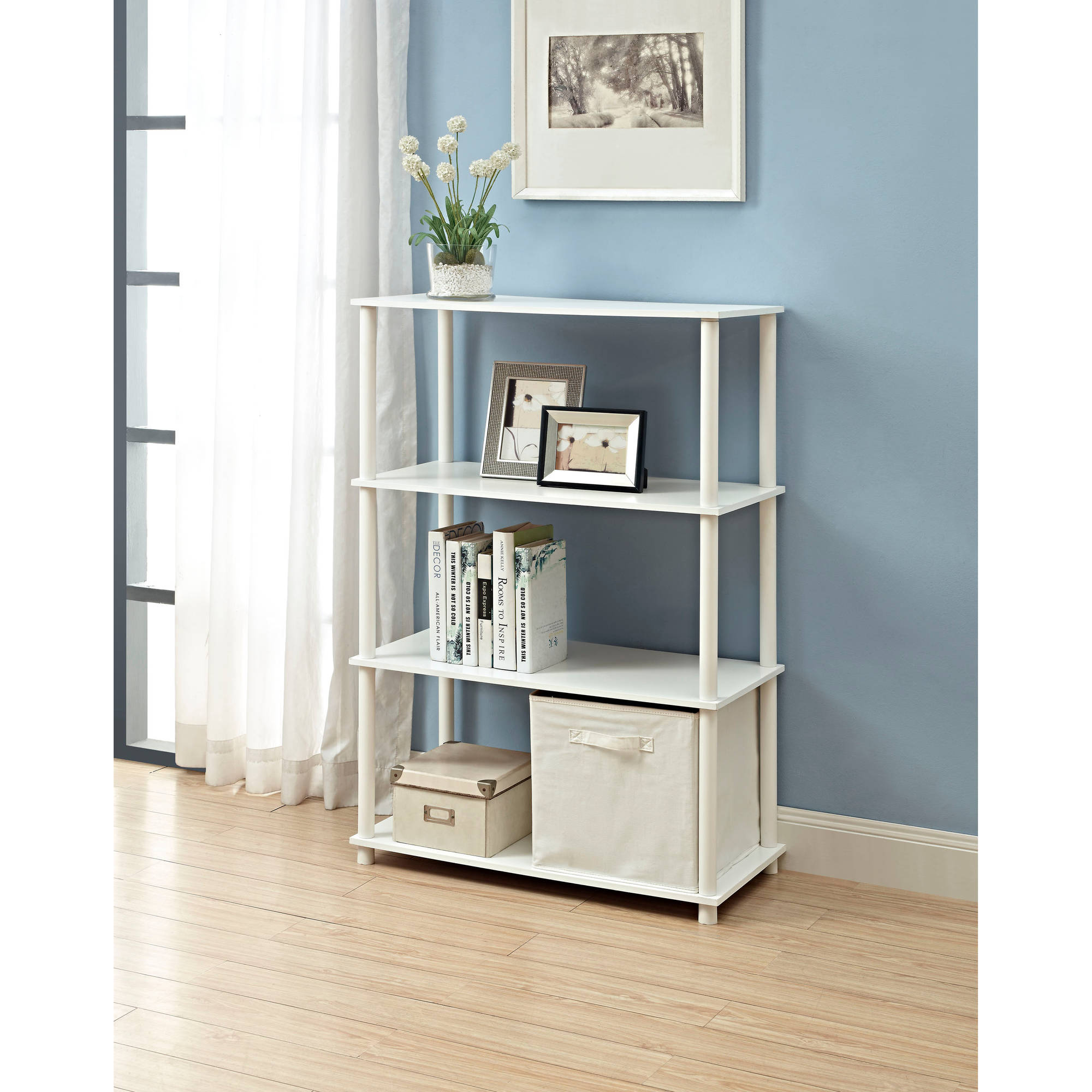 Mainstays No Tools 6-Cube Storage Shelf, Multiple Colors