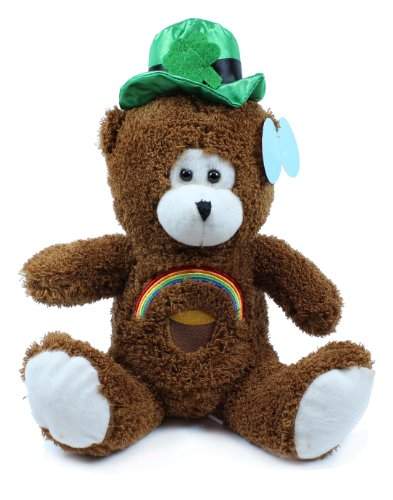 Beverly Hills Teddy Bear Co. St. Patrick's Day Brown Bear with Rainbow by