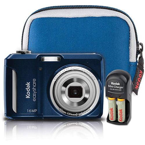 "Kodak EasyShare C1550 16MP Digital Camera Bundle w/ 5x Optical Zoom, 3.0"" LCD Display, Blue"