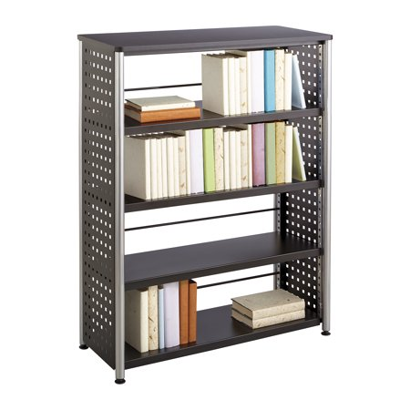 1603BL Scoot Office Library 77 Lbs Weight Capacity Unique Hole Pattern Design Perforated Steel 4 Shelf Black (Safco Model Design)