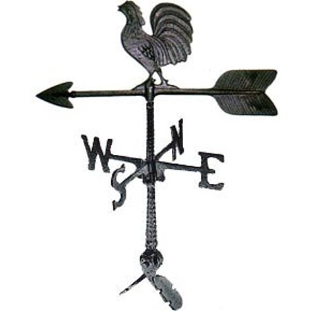 Hand Cast Aluminum Sturdy Weathervane with Rooster Ornament 24