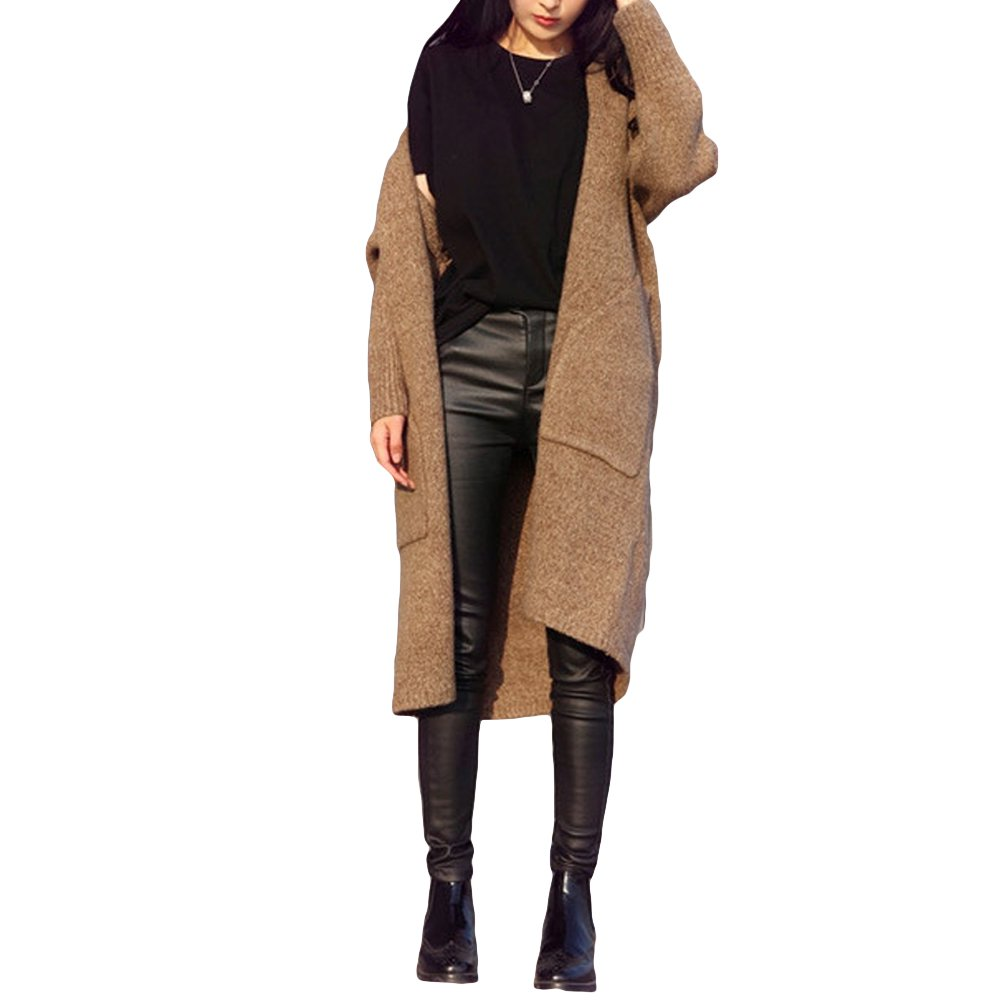 Nouvelle Automne Hiver Femme Cardigan Tricot Pull Manches Longues Casual Loose Knitwear Greyblackcamel
