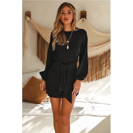 Vista Autumn Winter New Casual Straps Knitted Long Sleeved Dress
