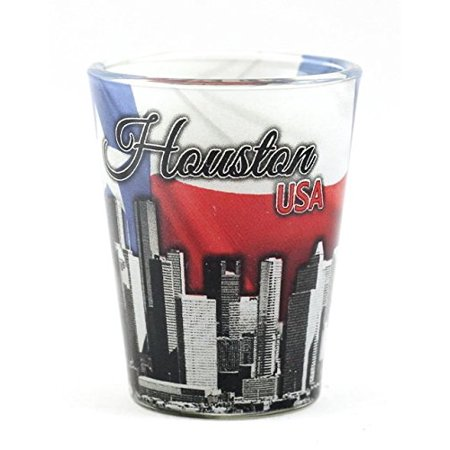 Houston Texas Flag and Skyline Collage Shot Glass ctm