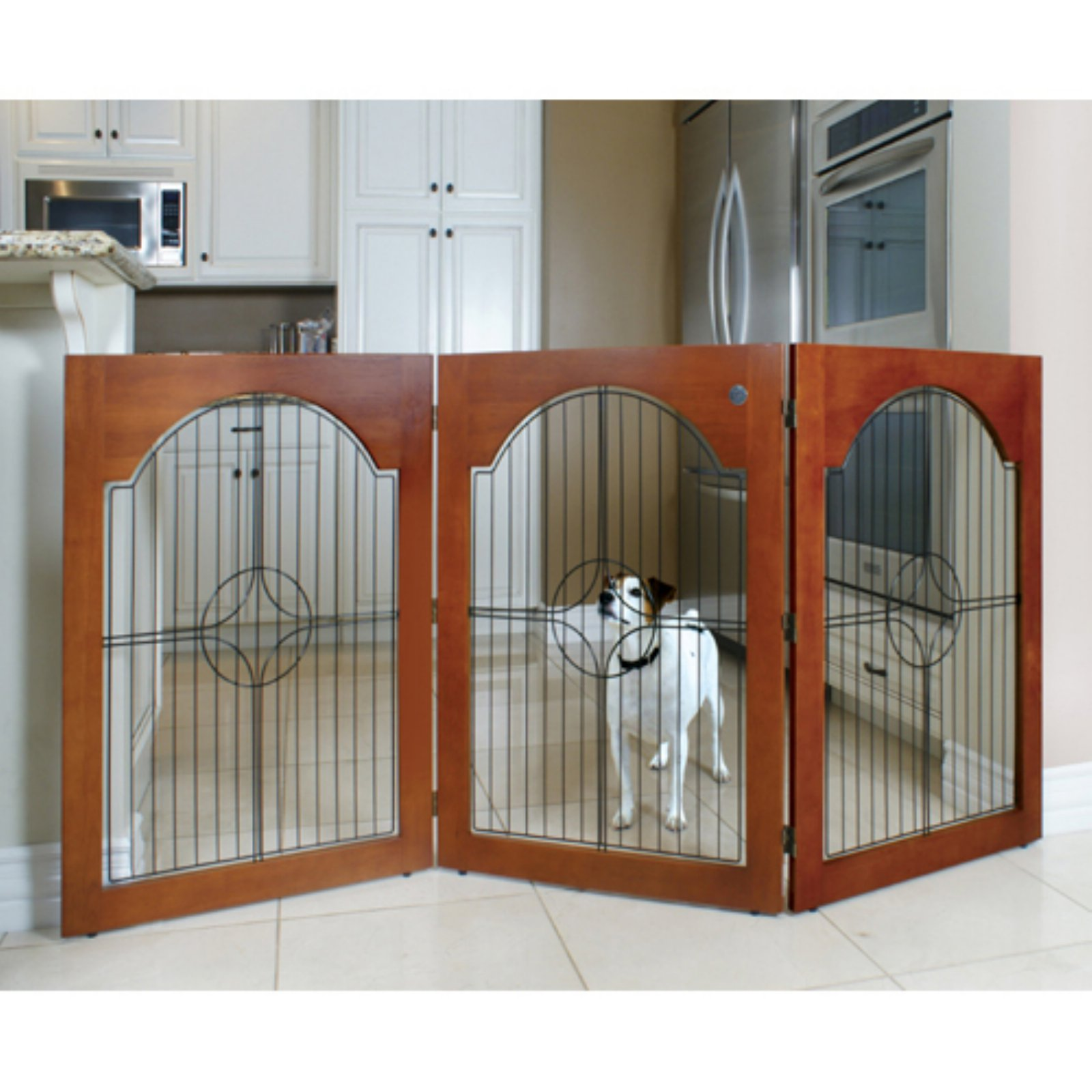 Majestic Pet Products Universal Free-Standing Pet Gate, Cherry Stained