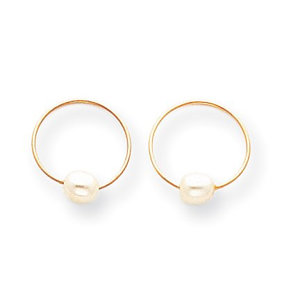 14K Yellow Gold Madi K Endless Hoop With Fw Cultured Pearl  5X12mm  Earrings