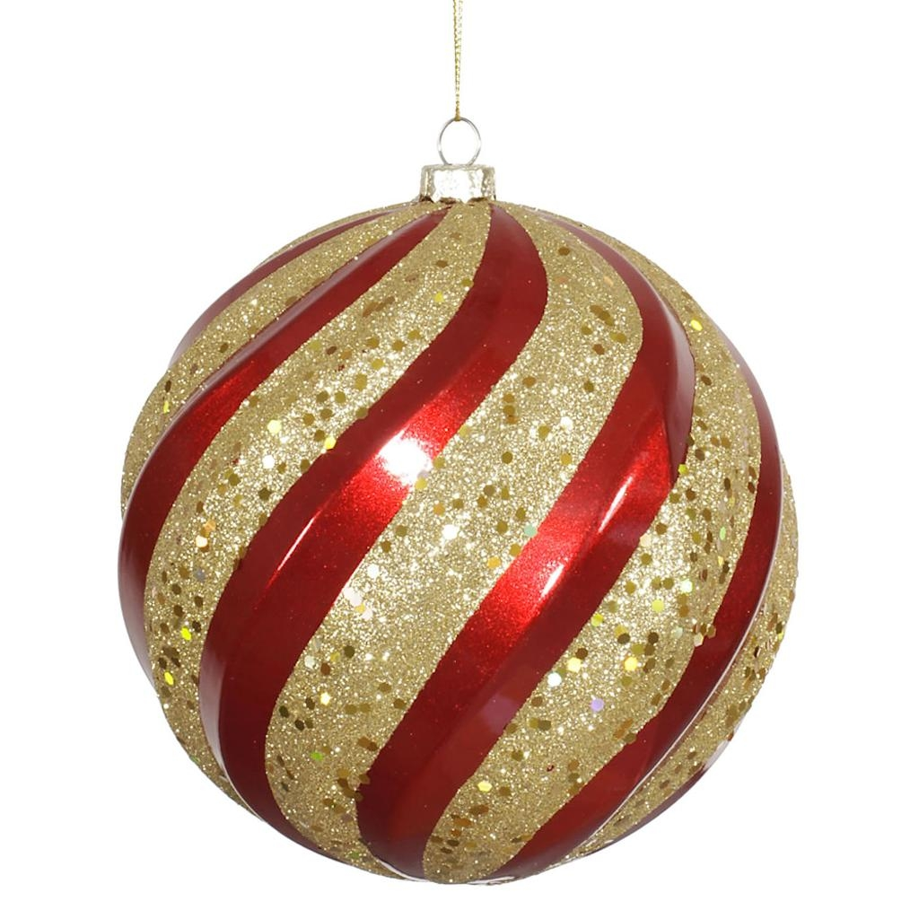 "Red And Gold Christmas Trees: 25"" Red-Gold Candy Glitter Swirl"