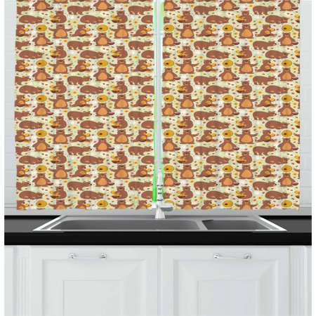 Bear Curtains 2 Panels Set, Childish Pattern with Wild Brown Bear Figures Sitting Sleeping Eating Honey Raspberry, Window Drapes for Living Room Bedroom, 55W X 39L Inches, Multicolor, by Ambesonne (Raspberry Room)